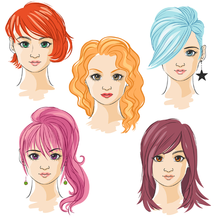 anime young: Young pretty girls hand drawn in anime style. Vector illustration Illustration