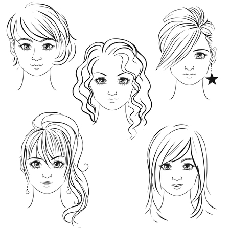 Young pretty girls hand drawn in anime style. Vector illustration Çizim