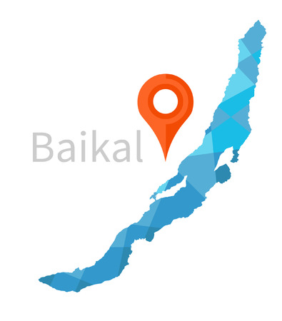 geo: Map of Baikal lake with geo tag. Vector illustration