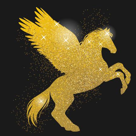 rearing: Rearing pegasus. Gold shimmering silhouette on black background. Hand drawn vector illustration Illustration