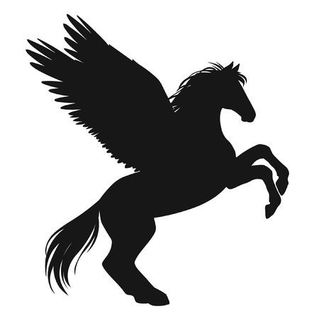 Rearing pegasus. Black silhouette on white background. Hand drawn vector illustration