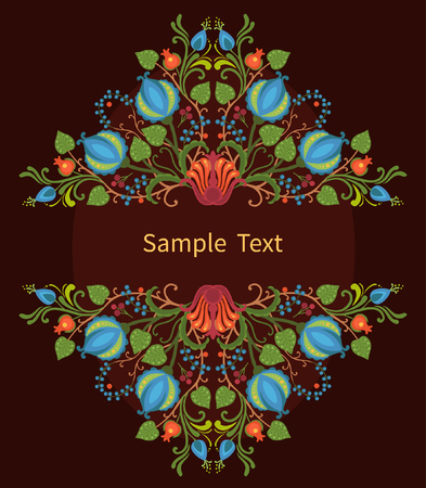 slavic: Elements of traditional Slavic ornaments. Vector illustration. Ornate card design with place for your text