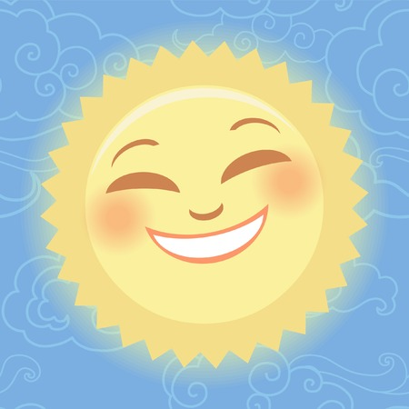 Stylized sun on seamless background with clouds. Vector illustration