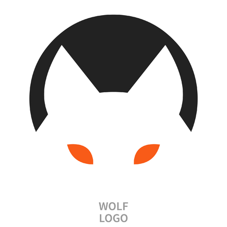 Wolfs head. Tattoo sketch. Logo design. Vector illustration