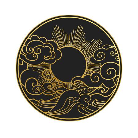 Sun in the sky over the sea. Decorative graphic design element. Vector illustration in oriental style