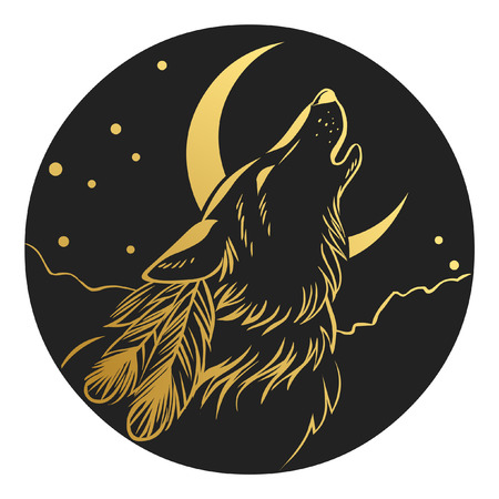 Howling wolf's head. Tattoo sketch. Logo design. Vector illustration