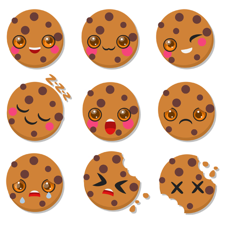 Cute oat cookies. Set of emotion icons for messenger, chat or more. Vector hand drawn illustration
