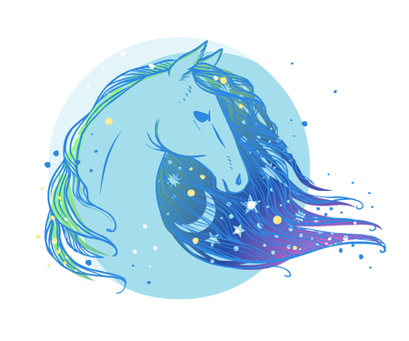Horse's head with moon and stars. illustration