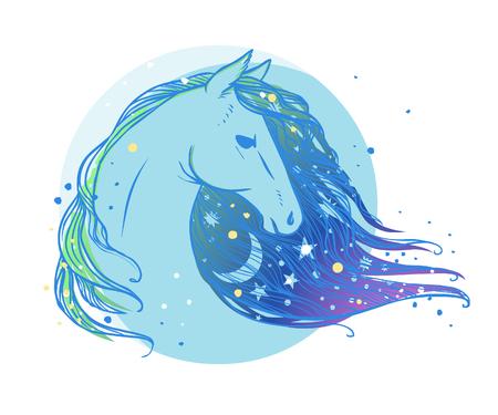 Paardkop met maan en sterren. illustratie