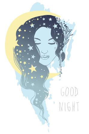 night moon: Beautiful young woman with long wavy hair. Goddess of night. Vector hand drawn illustration