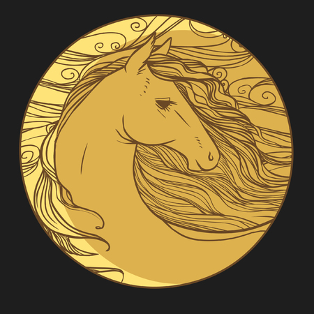 Round vector template with horses head. Illustration