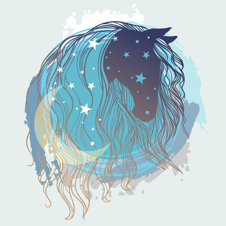 Horses head with long curly mane, moon and stars. Vector hand drawn illustration in romantic boho style