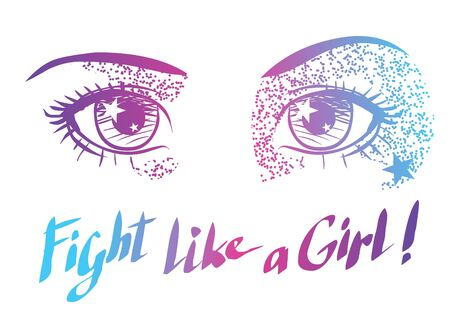 anime eyes: Beautiful shining eyes. Vector hand drawn illustration in anime style Illustration