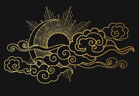 흐린 하늘에 태양과 달. 장식 그래픽 디자인 요소입니다. 오리엔탈 스타일에서 벡터 일러스트 레이 션
