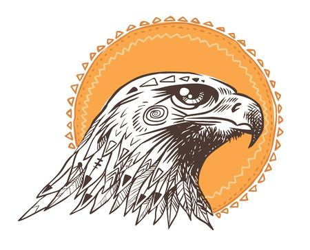 Vector tiré par la main oiseau de tête proie. Illustration dans le style bohème.