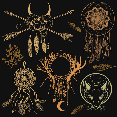 Set of graphic design elements in bohemian style. Vector templates for flash tattoo, stickers and other Ilustração