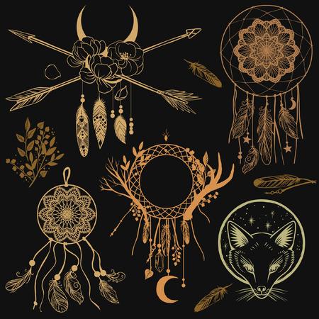 Set van grafisch ontwerp elementen in bohemian stijl. Vector sjablonen voor flash tattoo, stickers en andere