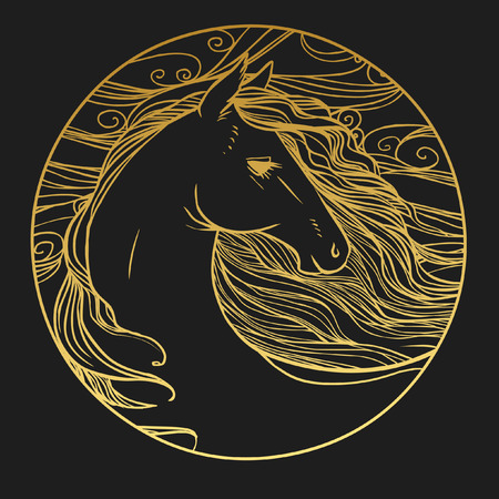 Round vector template with horse's head.