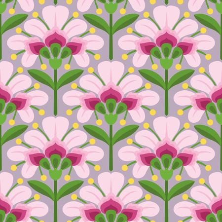 Floral vector seamless pattern pink flowers green stems and floral vector seamless pattern pink flowers green stems and leaves ornament in ethnic mightylinksfo