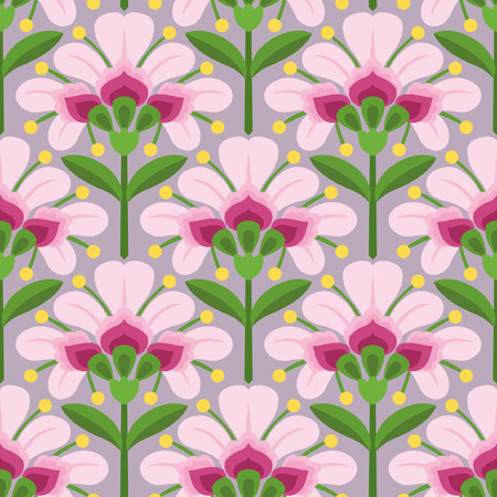 Floral vector seamless pattern. Pink flowers, green stems and leaves. Ornament in ethnic style.