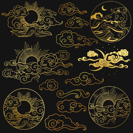 Sun and moon in the sky over the sea. Collection of decorative graphic design elements in oriental style. Vector hand drawn illustration Vectores