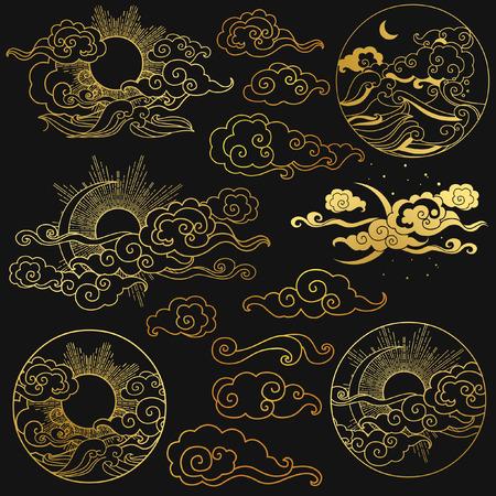 Soleil et lune dans le ciel au-dessus de la mer. Collection des éléments de conception graphique de décoration dans le style oriental. Illustration tirée Vector hand