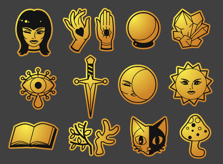 Cute magic accessories. Design for halloween stickers, patches and other. Vector template