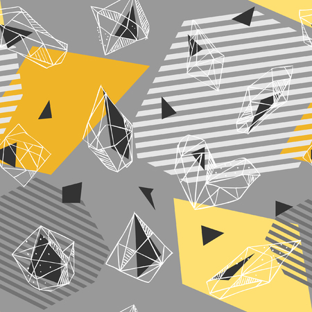 Vector seamless geometric pattern in 80s style. Abstract figures, stripes and crystals on grey background