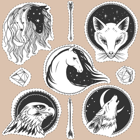 Round templates with animals. Vector illustrations in boho style for stickers, t-shirt design and other