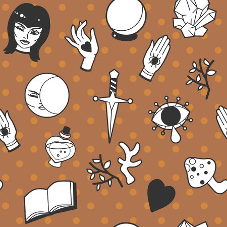 Cute magic accessories. Design for halloween packaging, tablecloth and other decorations. Vector seamless pattern