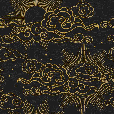Soleil et lune dans un ciel nuageux. Modèle sans couture de vecteur dessiné à la main dans le style oriental Vecteurs