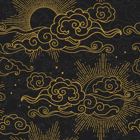 Sun and moon in cloudy sky. Vector hand drawn seamless pattern in oriental style Vetores