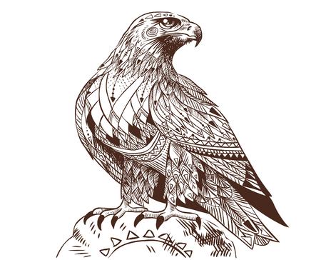 Vector hand drawn bird of prey. Illustration in bohemian style. Illustration
