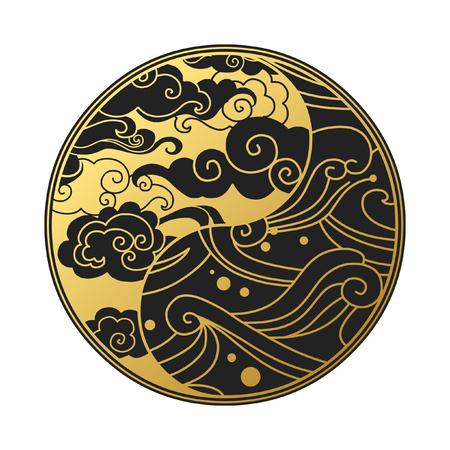 雲と波と陰陽のシンボル。オリエンタル スタイルで装飾的なデザイン要素です。ベクトル手描き下ろしイラスト