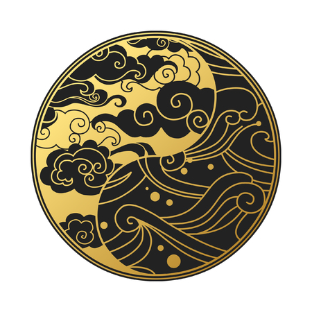 Yin Yang symbol with clouds and waves. Decorative graphic design element in oriental style. Vector hand drawn illustration Illustration