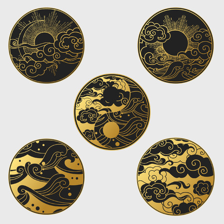 Sun and moon in the sky over the sea. Collection of decorative graphic design elements in oriental style. Vector hand drawn illustration Stock Illustratie