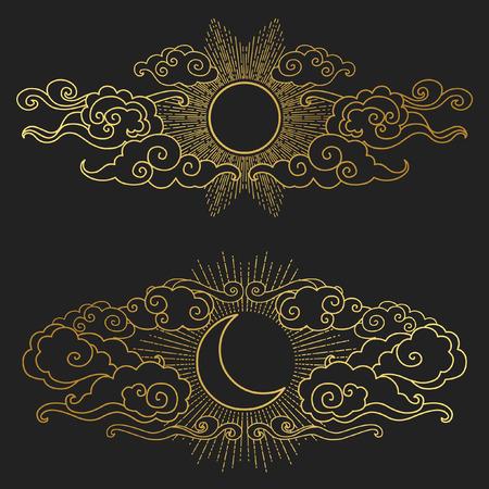 Zon en de maan in de bewolkte hemel. Decoratieve grafisch ontwerp elementen in oosterse stijl. drawn Vector hand illustratie Stock Illustratie