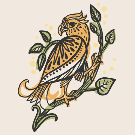folkloric: Bird of prey sitting on a branch. Vector hand drawn illustration in folkloric style