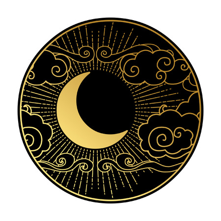 crescent: Crescent moon in the cloudy sky. Decorative graphic design element. Vector illustration in oriental style Illustration
