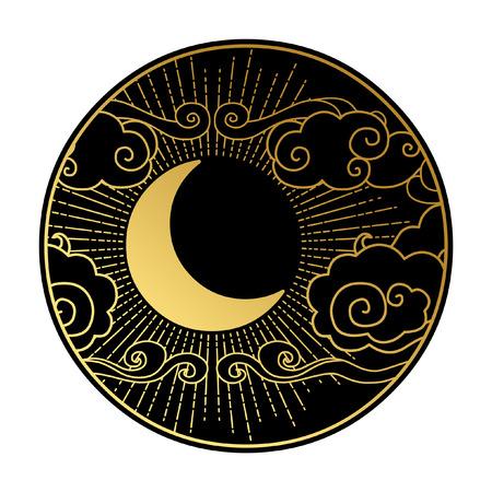 Croissant de lune dans le ciel nuageux. Élément de design graphique décoratif. Illustration vectorielle dans un style oriental