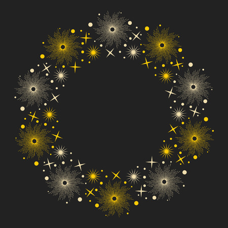 Stars on dark background. Round frame for your design. Vector hand drawn illustration