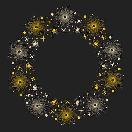 luminary: Stars on dark background. Round frame for your design. Vector hand drawn illustration