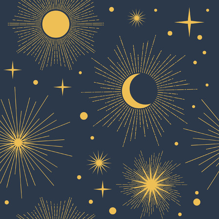 luminary: Vector seamless pattern with cosmic objects. Stars and planets on dark background Illustration