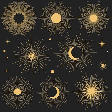 Set of vintage hand drawn shiny cosmic objects on dark background. Editable design elements. Иллюстрация