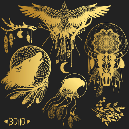 Set of graphic design elements in bohemian style. Vector templates for flash tattoo, stickers and other Иллюстрация