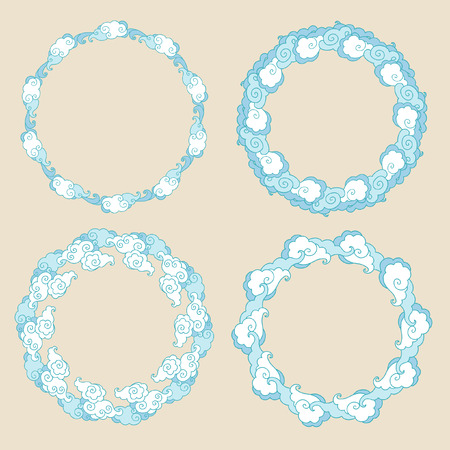 Set of round frames with clouds in oriental style. Vector hand drawn illustration Illustration