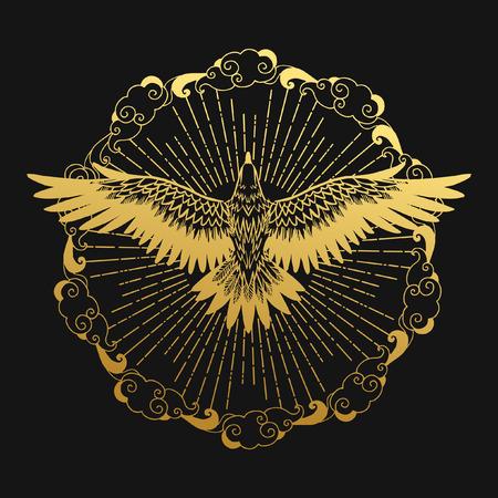 高騰イーグル、素晴らしい草原の国のシンボル。ベクトル図  イラスト・ベクター素材