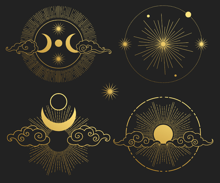 Zestaw elementów dekoracyjnych. Księżyc, słońce, planety i gwiazdy. Szablony wektorowe.