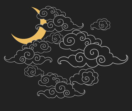 Elements of traditional oriental cloudy ornament. Night sky. Vector illustration