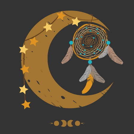 indian teenager: Dream catcher and crescent moon on black background. Illustration